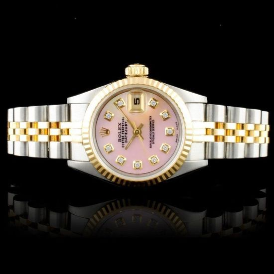 Rolex 18K & SS DateJust Diamond Ladies Watch