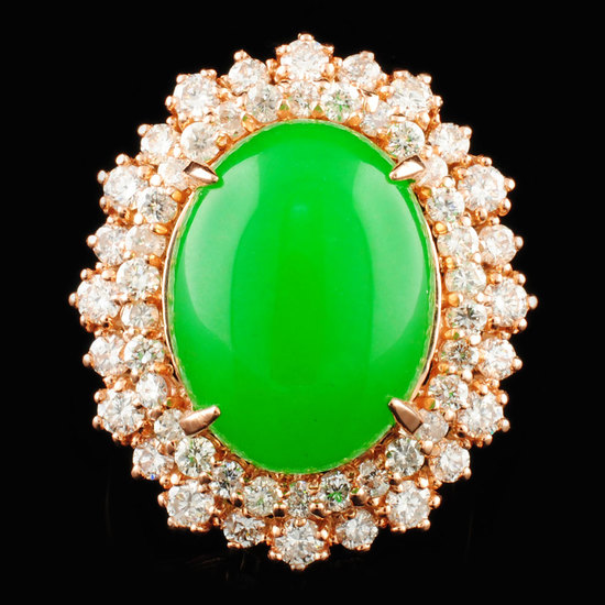 14K Gold 8.48ct Jade & 1.71ctw Diamond Ring