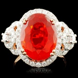 14K Gold 4.31ct Opal & 0.97ctw Diamond Ring