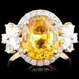 14K Gold 4.46ct Sapphire & 1.12ctw Diamond Ring