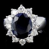 14K Gold 5.00ct Sapphire & 1.25ctw Diamond Ring