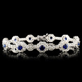 14K Gold 2.30ct Sapphire & 6.30ctw Diamond Bracele