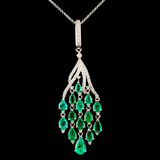14K Gold 4.40ctw Emerald & 0.75ctw Diamond Pendant