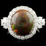 14K Gold 4.45ct Opal & 1.43ctw Diamond Ring