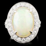 14K Gold 4.70ct Opal & 1.31ctw Diamond Ring