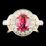 18K Gold 1.28ct Spinel & 0.63ctw Diamond Ring
