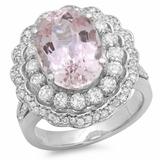14K Gold 7.50ct Morganite & 1.25ct Diamond Ring