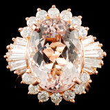 14K Gold 7.00ct Morganite & 1.19ctw Diamond Ring