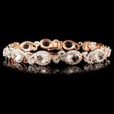 14K Gold 8.33ctw Morganite & 2.10ctw Diamond Brace
