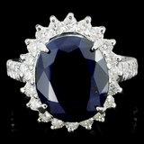 14K Gold 6.00ct Sapphire & 1.50ctw Diamond Ring