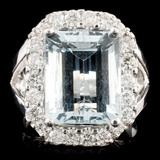 14K Gold 5.67ct Aquamarine & 0.90ctw Diamond Ring