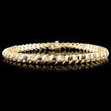 14K Gold 1.52ctw Sapphire & 0.70ctw Diamond Bracel
