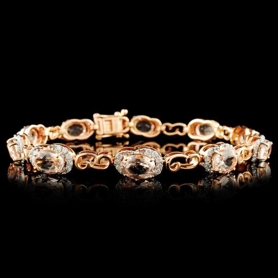 14K Gold 6.95ct Morganite & 0.75ctw Diamond Bracel