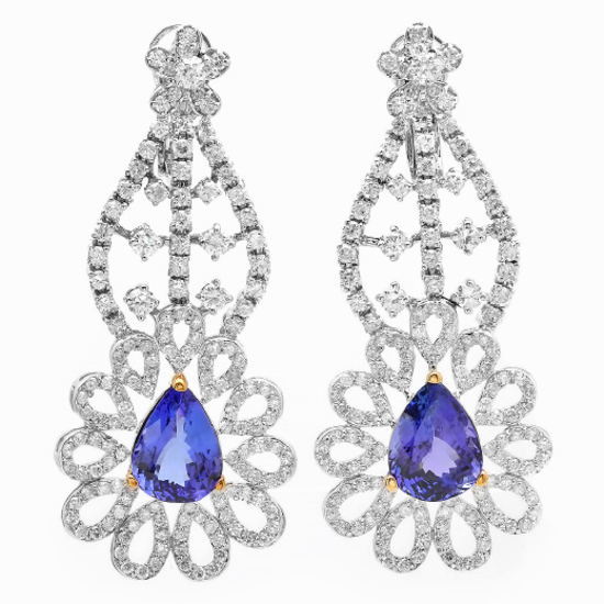 14K Gold 9.00ct Tanzanite & 5.50ct Diamond Earring