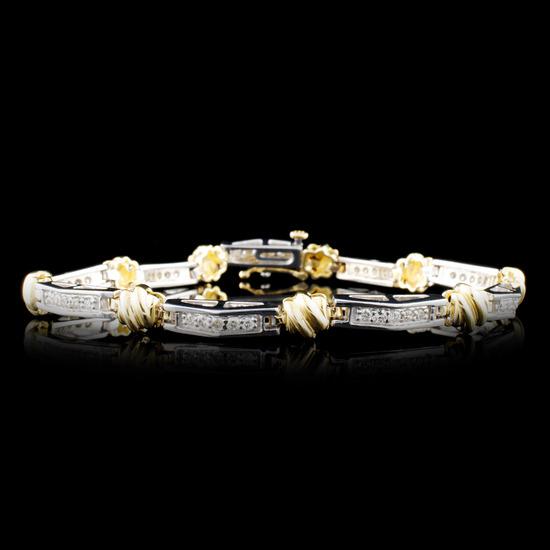14K Gold 0.90ctw Diamond Bracelet