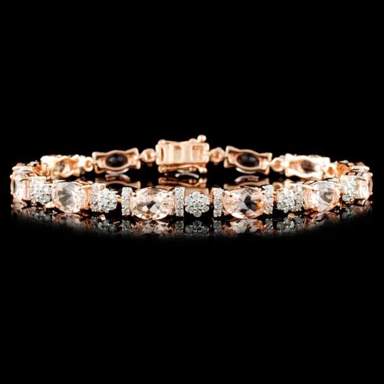 14K Gold 9.15ctw Morganite & 1.50ctw Diamond Brace