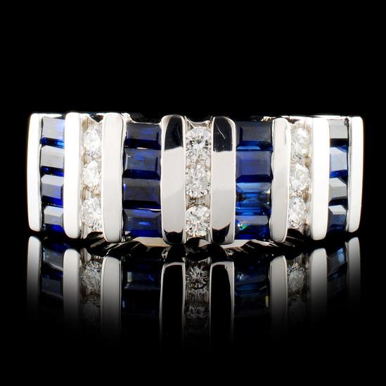 14K Gold 1.80ct Sapphire & 0.40ctw Diamond Ring