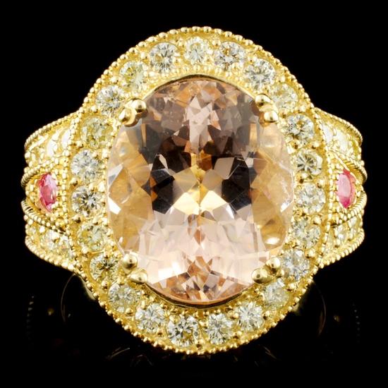 14K Gold 6.16ct Morganite & 1.51ctw Diamond Ring