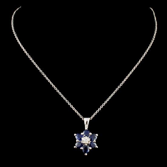 14K Gold 1.68ct Sapphire & 0.05ctw Diamond Pendant