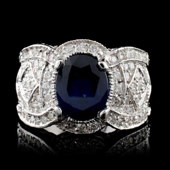 14K White Gold 2.50ct Sapphire & 1.36ct Diamond Ri
