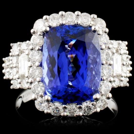 18K Gold  5.60ct Tanzanite & 1.44ct Diamond Ring