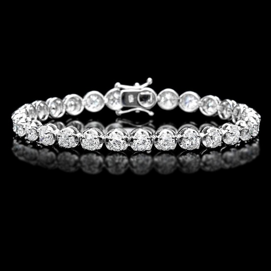 ^18k White Gold 10.00ct Diamond Tennis Bracelet