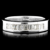 Solid Platinum 0.56ctw Diamond Ring