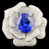 18K Gold 9.35ct Tanzanite & 5.52ctw Diamond Ring
