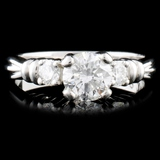 Solid Platinum 0.72ctw Diamond Ring