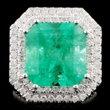 18K Gold 9.68ct Emerald & 3.78ctw Diamond Ring