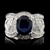 14K White Gold 2.50ct Sapphire & 1.36ct Diamond Ri