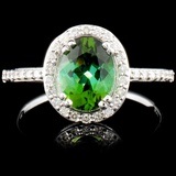 14K Gold 1.24ct Tourmaline & 0.37ctw Diamond Ring