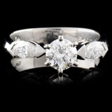 Solid Platinum 0.86ctw Diamond Ring