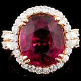 18K Gold 9.73ct Rubellite & 1.39ctw Diamond Ring