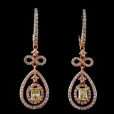 18K Rose Gold 1.48ctw Fancy Color Diamond Earrings