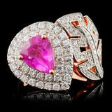 18K Rose Gold 1.93ct Sapphire & 0.98ct Diamond Rin
