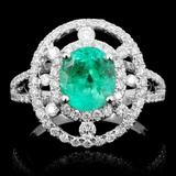 14K Gold 1.55ct Emerald & 0.75ct Diamond Ring