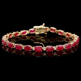 14k Gold 11.00ct Ruby & 0.50ct Diamond Bracelet