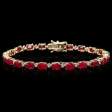 14k Gold 12.00ct Ruby & 0.50ct Diamond Bracelet