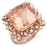 14K Gold 15.00ct Morganite & 0.75ct Diamond Ring