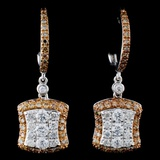 14K White Gold 1.70ctw Fancy Color Diamond Earring
