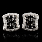 14K White Gold 1.47ctw Fancy Color Diamond Earring