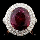 18K Gold 9.32ct Tourmaline & 2.16ct Diamond Ring