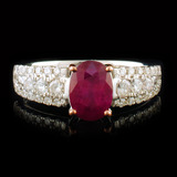 14k White Gold 1.44ct Ruby & 0.42ctw Diamond Ring
