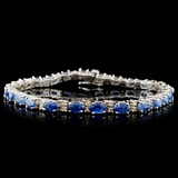 14K White Gold 9.87ct Sapphire & 0.92ct Diamond Br