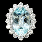 14K White Gold 8.79ct Paraiba & 3.05ct Diamond Rin