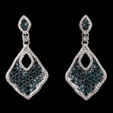 14K White Gold 1.33ctw Fancy Color Diamond Earring
