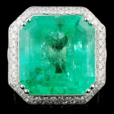 18K White Gold 23.83ct Emerald & 3.98ct Diamond Ri