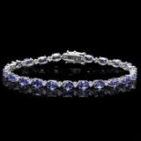 14k Gold 10.00ct Tanzanite & 0.50ct Diamond Brace
