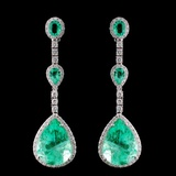 18K White Gold 26.82ct Emerald & 2.33ct Diamond Ea
